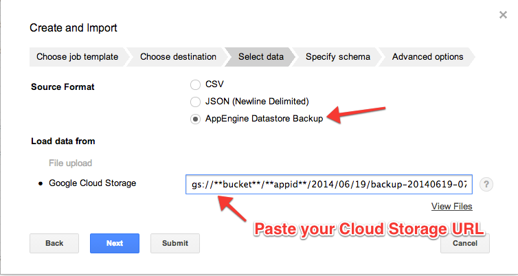 Restoring an App Engine backup into a Big Query table